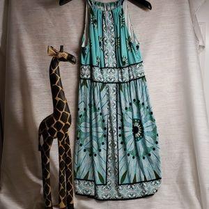 Dressbarn Geometric Pattern High Neck Dress